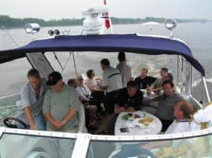friends enjoying boating