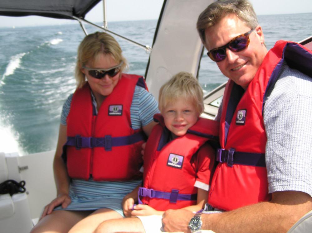 Happy boating family
